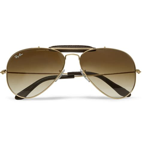 Ray-Ban Outdoorsman Leathertrimmed Aviator Sunglasses in