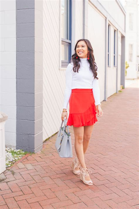 Spring in My Step :: Red Ruffle Wrap Skirt - Color & Chic
