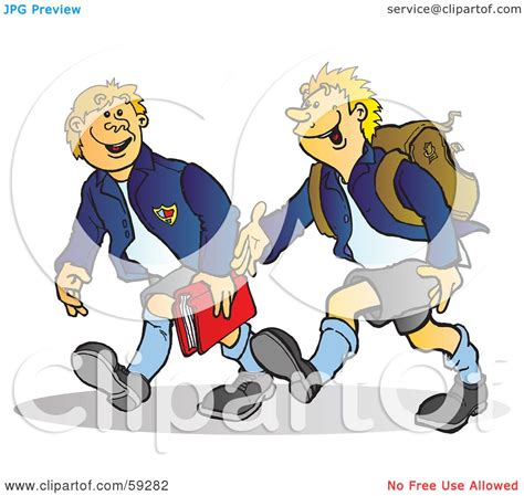 Royalty-Free (RF) Clipart Illustration of Two High School