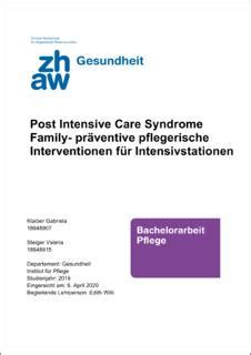 Post Intensive Care Syndrome Family : präventive