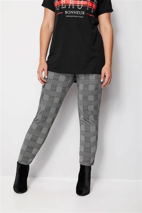 Black & White Prince of Wales Harem Trousers, Plus size 16