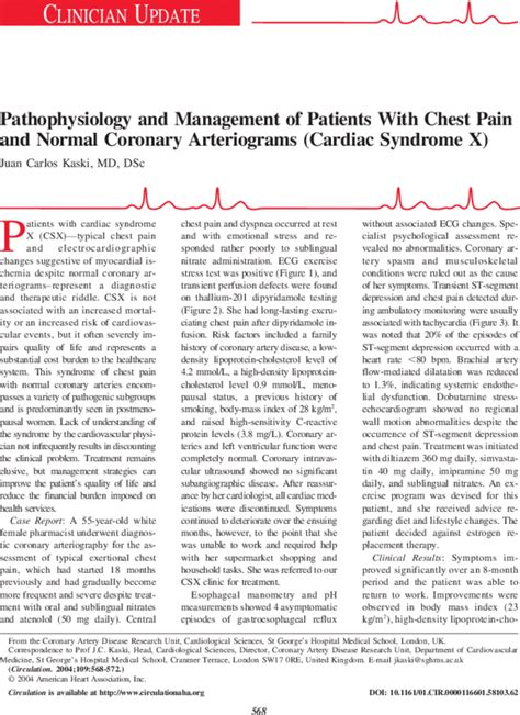 Pathophysiology and Management of Patients With Chest Pain