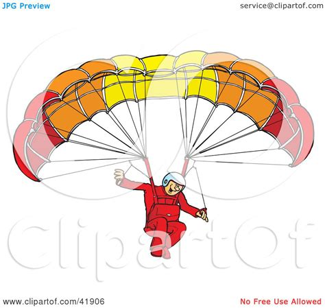 Clipart Illustration of an Amazed Paraglider Connected To