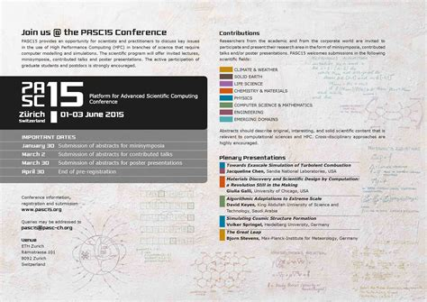 PASC15 Conference: upcoming poster presentation submission